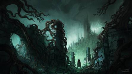 Dark Fantasy Ruins II ( w/ process time-lapse) by JJcanvas