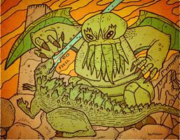 Cthulhu VS Godzilla by Hartter