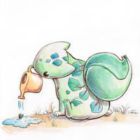 Inktober 12 - Bulbasaur and the Bulb by e-pona