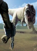 Predator vs Tyrannosaur by LLirik-13