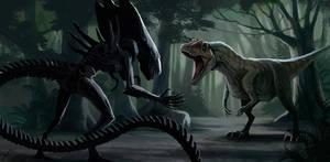 Alien vs allosaurus by LLirik-13