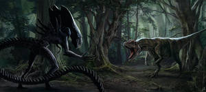 Alien vs Allosaurus. remake) by LLirik-13