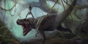Predator vs Tyrannosaur. Remake) by LLirik-13