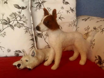 Gordon and Lumos - Needle Felted Dogs by Vulkanette