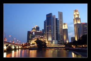 Singapore Skyline at Night 1 by Keith-Killer