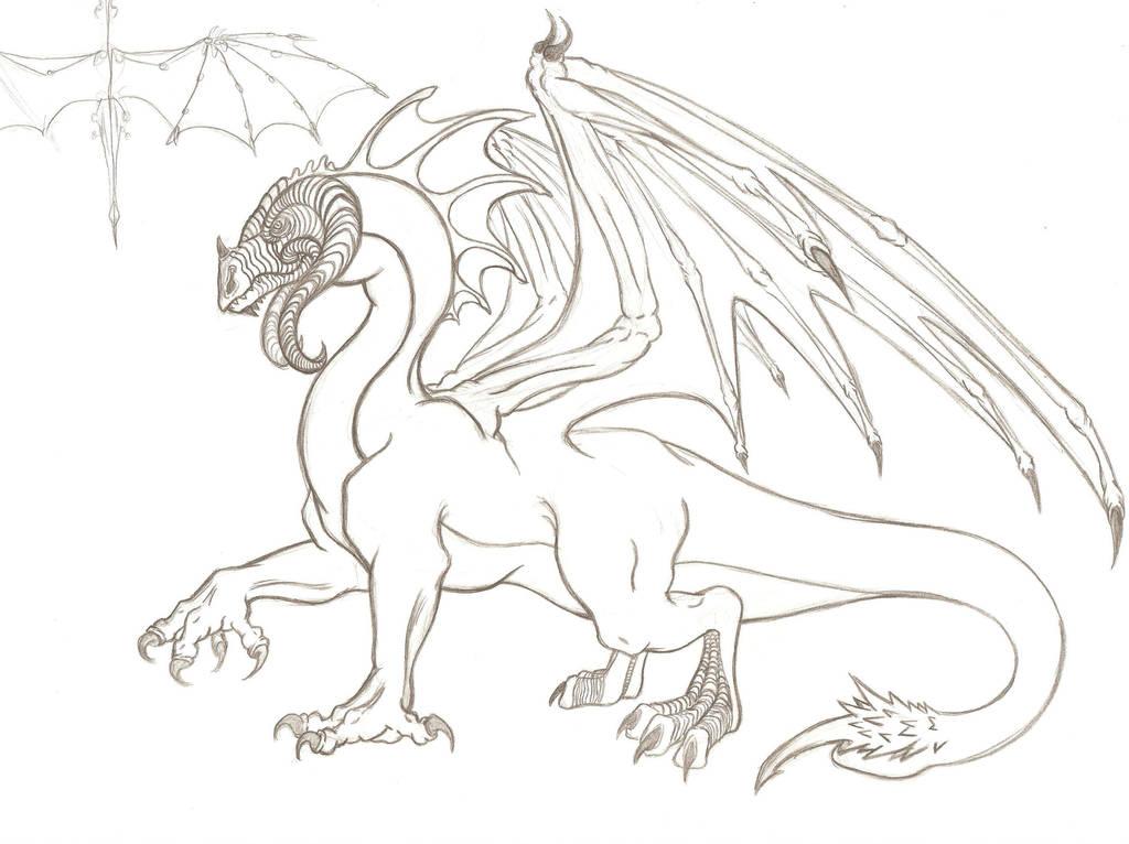 Luci, Black Dragon line art by The-Flightless-Wolf on DeviantArt