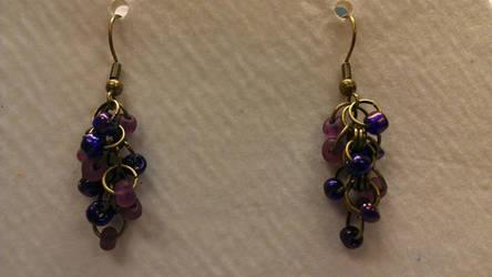 Grape Cluster Dangle Earrings by misledone