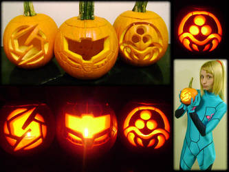 Metroid Pumpkin trio by Zadra