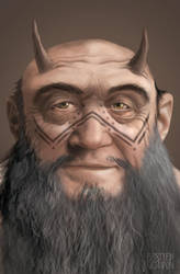 Ensi Galgaru, horned-head of the Kainreg by Gratte-papier