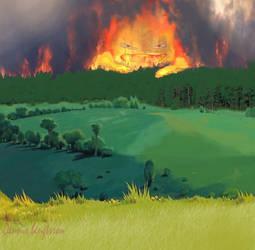 Calcifer lost in dry forest by baffledbear