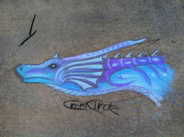 Big blue dragon-Chalk Art by CrystalCircle