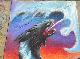 Alpha Toothless-Chalk art by CrystalCircle