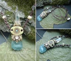 Blue Onyx and Rock Quartz ethnic Necklace by EnchantedTokenArt