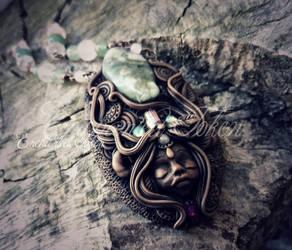 Emerald Tourmaline Faun Necklace by EnchantedTokenArt