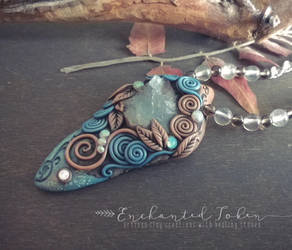 Ethnic style necklace with beautiful rhodochrosite by EnchantedTokenArt