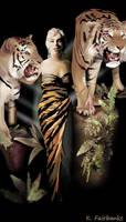 Marilyn Monroe with Tigers by kfairbanks