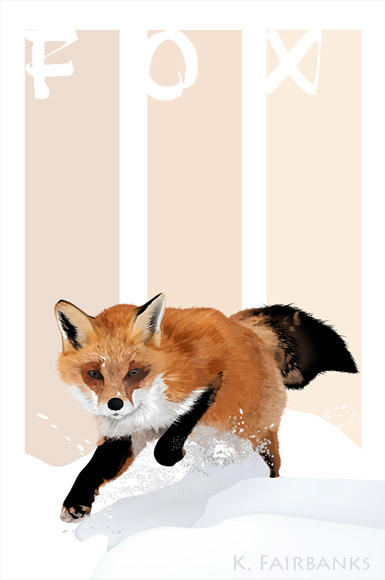 Winter Fox  with Text Design by kfairbanks