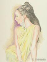 Retro Fashion Model in Yellow (pencil drawing) by kfairbanks