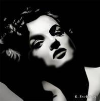 Jane Russell Black and White (digital drawing) by kfairbanks