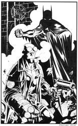 Batman Hellboy- Black and White by DerecDonovan