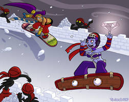 Shantae vs Risky Snowboarding by captainsponge