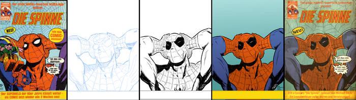 Spider-Man Die Spinne Retro Cover Work in Progress by BouncieD