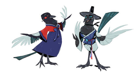 Korean Magpies in hanboks by FablePaint