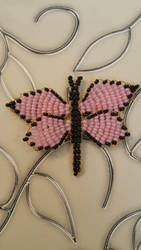 Pink black butterfly (for Snowshi) by Aliana-chan