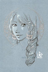 Portrait :Tania with silvermoon: by Iksumi