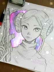 Leia , the Galactic Spirit - Sketch by larienne