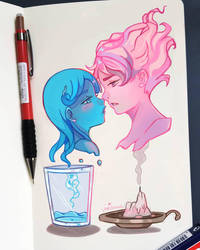 +Fire and Water - Before and After+ by larienne