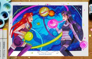 Starfire vs Blackfire by larienne