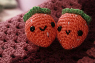 Pink Strawberries ~ for sale on Etsy by theyarnbunny