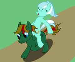 Lyra riding Verdant by Tassadoul