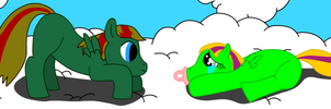Verdant and Emerald's first time playing outside by Tassadoul