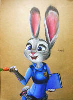 zootopia fan art - judy hopps with colored pencil by KR-Dipark