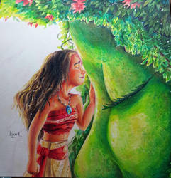 Moana and Te fiti Colored Pencil by KR-Dipark