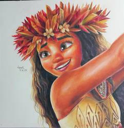moana fan art colored pencil drawing by KR-Dipark