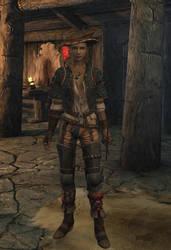 Skyrim Yvette in Riverwood tavern by danbuter
