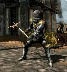Yvette in heavy armor with halberd (Skyrim) by danbuter
