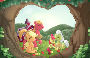 Apple family. (Family Fun Contest Entry) by drawsj