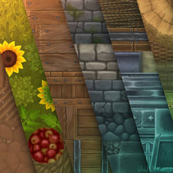 Hand painted textures for Isometric Village by Viollethien