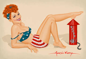 Red, White and Blue Pin Up by AtomicKirby