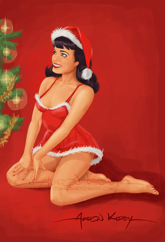 Bettie Paige Christmas pin-up by AtomicKirby