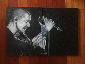 Chester Bennington Painting - Flames of a Legend by LPSoulX