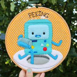 Peeing! BMO hoop by loveandasandwich