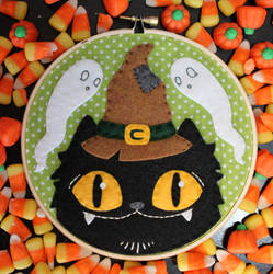 Witchy Cat Hoop by loveandasandwich