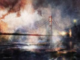 The Hanging Bridge at Dusk by raysheaf