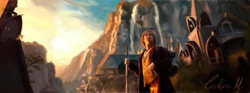 Bilbo in Rivendel by BluishDreams