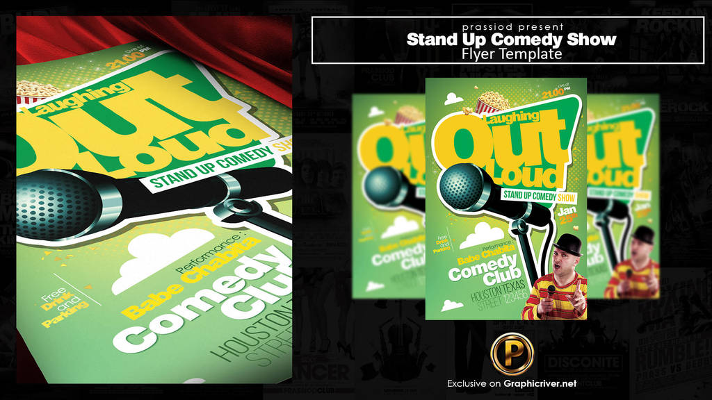 Stand Up Comedy Show Flyer Template By Pretyo
